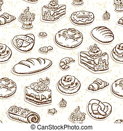 Bread and pastry seamless pattern in brown color.