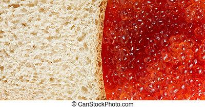bread and red caviare