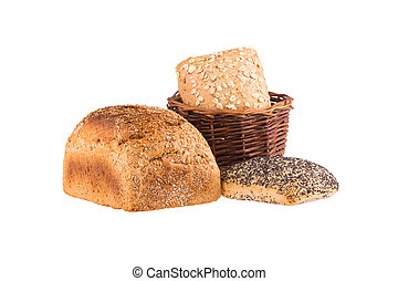 Bread and rolls in wicker basket isolated on white.