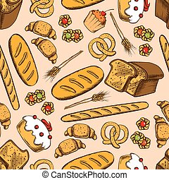 Wholemeal bread, cake, cupcake, baguette, wheat long loaf, croissant, jelly cookie and salted pretzel seamless pattern on peach background with wheat ears. Bakery and pastry shop food packaging design