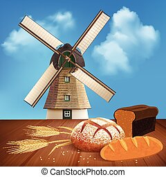 Bread And Wheat Background Illustration