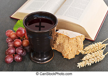 Bread and wine - Bread, wine and bible for sacrament or ...