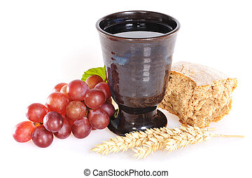 Bread and wine for sacrament or communion