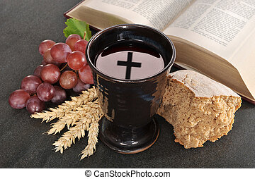 Bread and wine - Bread, wine and bible for sacrament or...