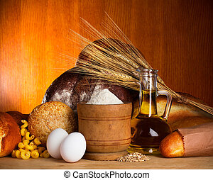 Bread assortment with ingredients