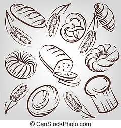 bread background - Bread and bakery products vector sketches...