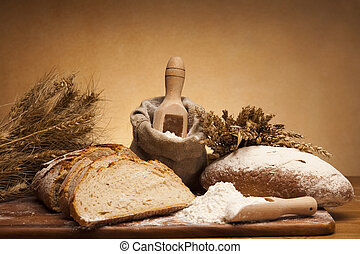 Bread background - Still-life assortment of baked bread.