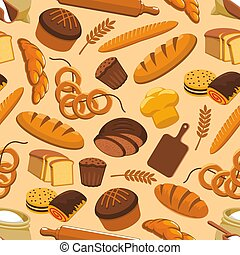 Bread bakery and pastry seamless pattern