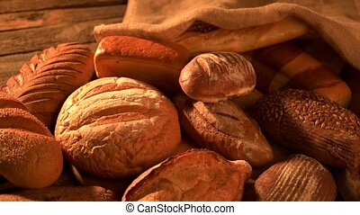 Bread bakery background. Fresh crispy bread close up....