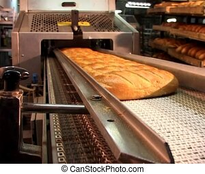 the bread moving at the bakehouse conveyor after oven