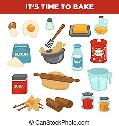 Bread baking ingredients vector baker tools
