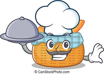 bread basket as a chef cartoon character with food on tray