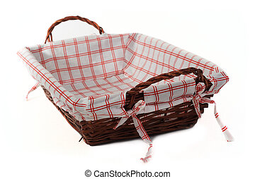 Bread basket isolated over white with focus on an handle