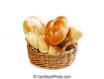 Small basket filled with buns isolated on white background