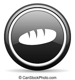 bread black circle glossy web icon