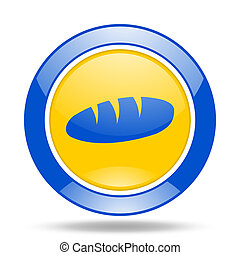 bread blue and yellow web glossy round icon
