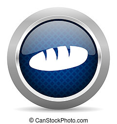 bread blue circle glossy web icon on white background, round button for internet and mobile app