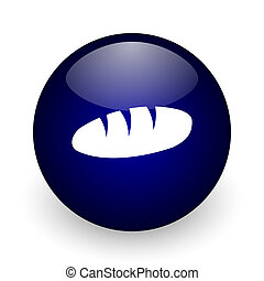 Bread blue glossy ball web icon on white background. Round 3d render button.