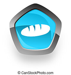 bread blue metallic chrome web pentagon glossy icon
