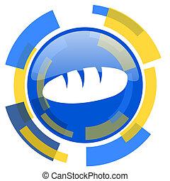 bread blue yellow glossy web icon