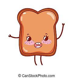 bread breakfast food cute kawaii isolated icon