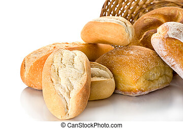 Bread Buns - Extreme close-up image of buns on white...