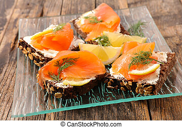 bread canape with salmon