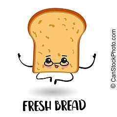bread., caricatura, personagem, eyes., braços, pernas, fatia, sorrizo