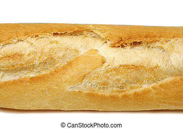 bread - closeup and cutout of a baguette isolated on a white...