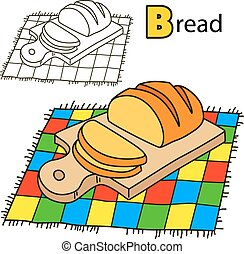 Bread. Coloring book page