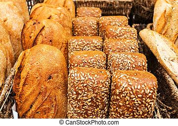 Bread counter at the Mahane Yehuda Market in Jerusalem.