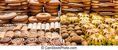 bread and sweet on the bread Counter Mahane Yehuda Market Jerusalem