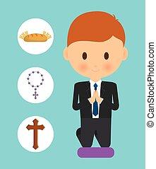 bread cross rosary boy kid cartoon icon. Vector graphic