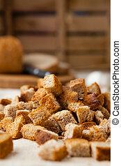 bread, crostini, cotto, in, il, forno