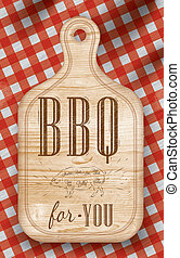 Bread cutting Light BBQ - Poster with meat cutting loft wood...