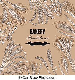 Bread design template. Vector banner with cereals. Hand drawn illustration