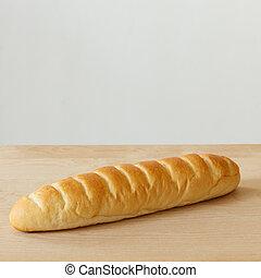 bread, en, tabla de madera, con, fondo blanco