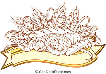 Bread engravings - Vector illustration of breads in engraved...