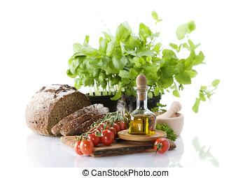 bread, erbe, olio oliva, e, verdura