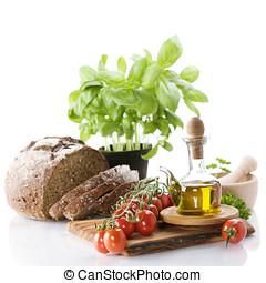 bread, füvek, olívaolaj, és, növényi