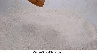 Bread Falling in Flour, Slow Motion 4K
