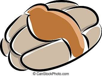 Bread flat, illustration, vector on white background.