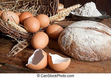 Bread flour and eggs