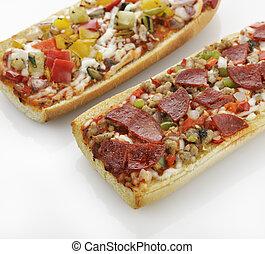 bread, francés, pizza