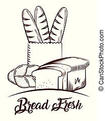 bread fresh bakery products food sketch image