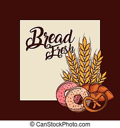 bread fresh donuts pretzel whole wheat bakery poster
