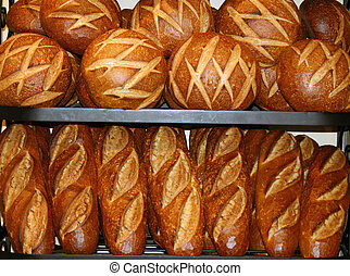 Bread - Fresh loaves of bread on a rack