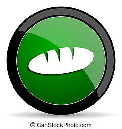bread green web glossy icon with shadow on white background
