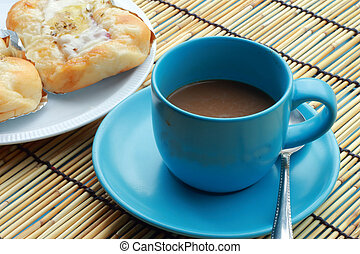 Bread ham cheese and cup of coffee
