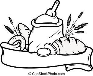 bread, harina, signo., saco, panadería, vector, ilustración, blanco, cinta, cebada
